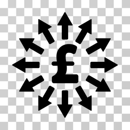 Pound Money Distribution vector pictograph. Illustration style is a flat iconic black symbol on a transparent background. Illustration