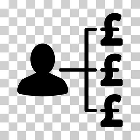 payer: Pound Payer Relations vector pictograph. Illustration style is a flat iconic black symbol on a transparent background.