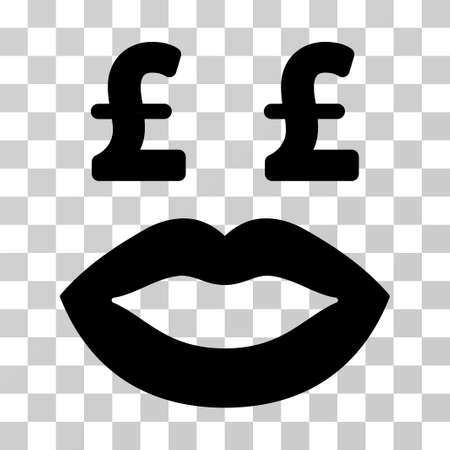 Pound Prostitution Smiley vector pictograph. Illustration style is a flat iconic black symbol on a transparent background. Illustration