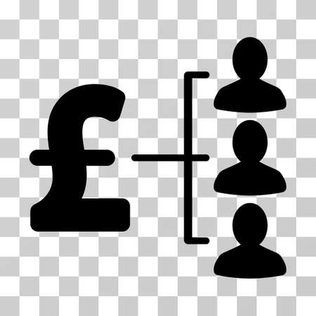 command structure: Pound Recipients vector pictograph. Illustration style is a flat iconic black symbol on a transparent background. Illustration