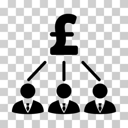 command structure: Pound Shareholders vector pictograph. Illustration style is a flat iconic black symbol on a transparent background.