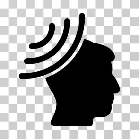 Radio Reception Mind vector icon. Illustration style is a flat iconic black symbol on a transparent background.