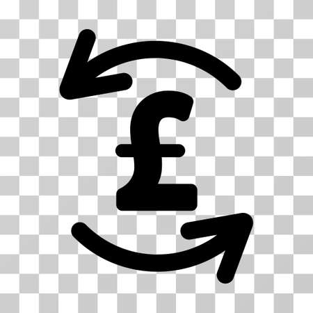 Refresh Pound Balance vector pictograph. Illustration style is a flat iconic black symbol on a transparent background.