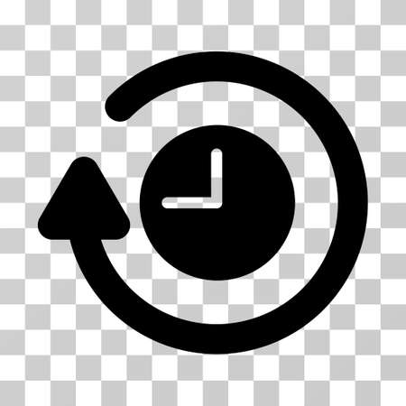 Repeat Clock vector pictogram. Illustration style is a flat iconic black symbol on a transparent background.