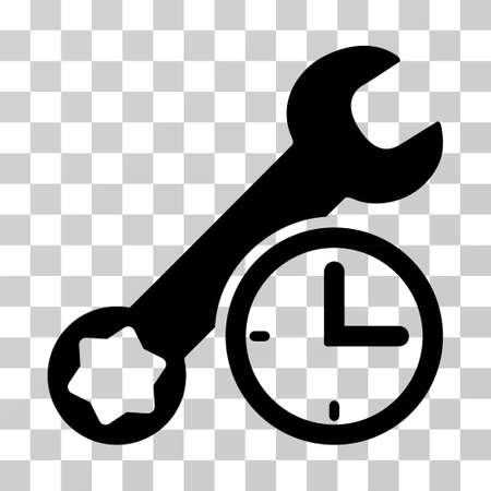 Service Time vector pictogram. Illustration style is a flat iconic black symbol on a transparent background.