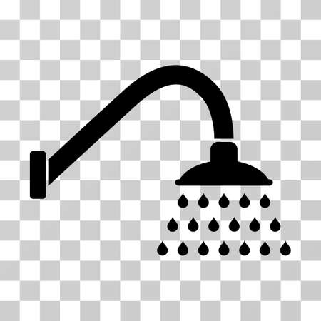 Shower vector pictograph. Illustration style is a flat iconic black symbol on a transparent background.