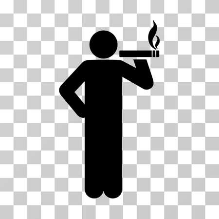 Smoking Man vector pictograph. Illustration style is a flat iconic black symbol on a transparent background.