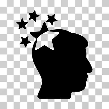 ruch: Stars Hit Head vector pictograph. Illustration style is a flat iconic black symbol on a transparent background.