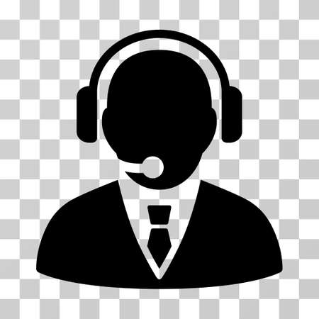 Support Manager vector pictogram. Illustration style is a flat iconic black symbol on a transparent background. Illustration