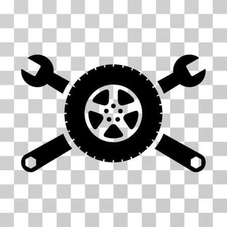 Tyre Service Wrenches vector pictogram. Illustratiestijl is een plat iconisch zwart symbool op een transparante achtergrond.