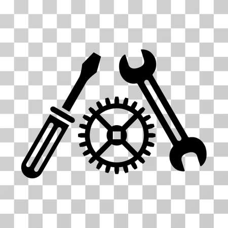 Tuning Service vector pictogram. Illustration style is a flat iconic black symbol on a transparent background.