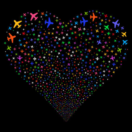 Airplane fireworks with heart shape. Vector illustration style is flat bright multicolored iconic symbols on a black background. Object valentine heart done from confetti symbols. Illustration