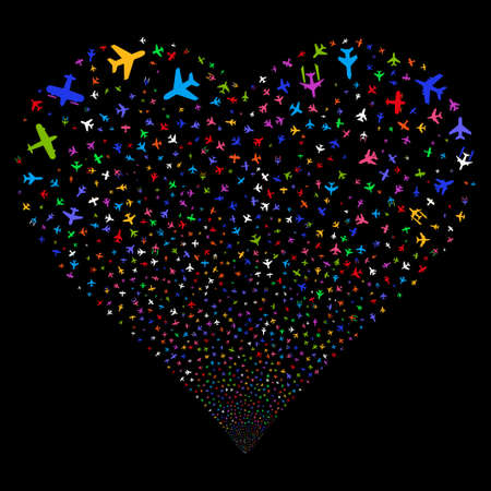 Airplanes fireworks with heart shape. Vector illustration style is flat bright multicolored iconic symbols on a black background. Object salute organized from scattered pictographs. Illustration