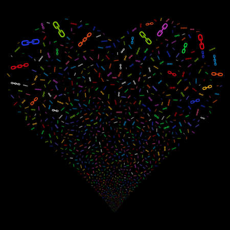 Chains fireworks with heart shape. Vector illustration style is flat bright multicolored iconic symbols on a black background. Object valentine heart done from scattered pictograms. Ilustrace