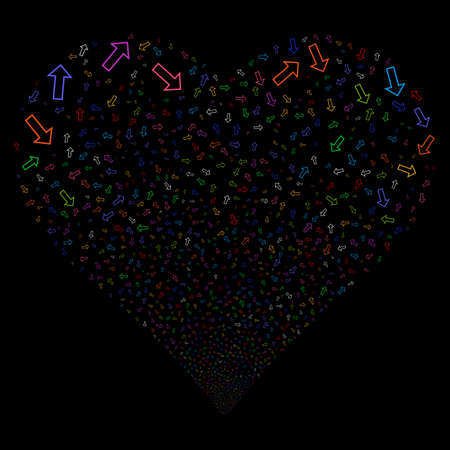 Arrow fireworks with heart shape. Vector illustration style is flat bright multicolored iconic symbols on a black background. Object heart organized from scattered icons. Illustration