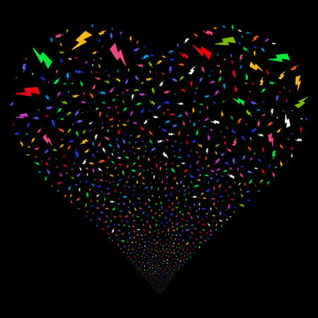 Electric Strike fireworks with heart shape. Vector illustration style is flat bright multicolored iconic symbols on a black background. Object heart organized from confetti pictograms.