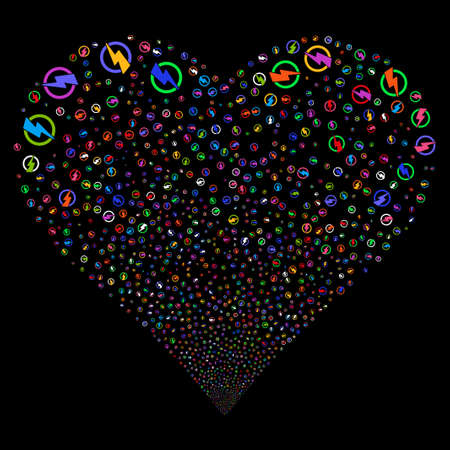 Electricity fireworks with heart shape. Vector illustration style is flat bright multicolored iconic symbols on a black background. Object stream constructed from confetti icons.