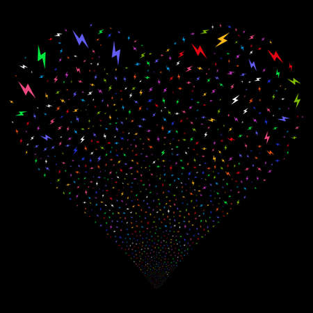 Electric Bolt fireworks with heart shape. Glyph illustration style is flat bright multicolored iconic symbols on a black background. Object love heart made from confetti symbols. Stock Photo