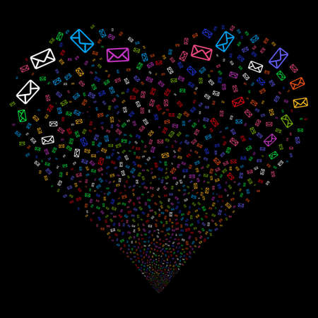 borne fontaine: Envelope fireworks with heart shape. Glyph illustration style is flat bright multicolored iconic symbols on a black background. Object heart combined from random pictographs. Banque d'images