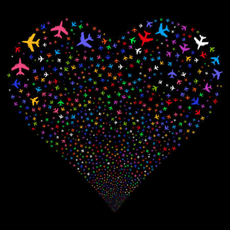 Jet Plane fireworks with heart shape. Glyph illustration style is flat bright multicolored iconic symbols on a black background. Object stream combined from random design elements.