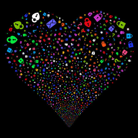 Secrecy Symbols fireworks with heart shape. Glyph illustration style is flat bright multicolored iconic symbols on a black background. Object salute organized from random pictograms. Stock Photo