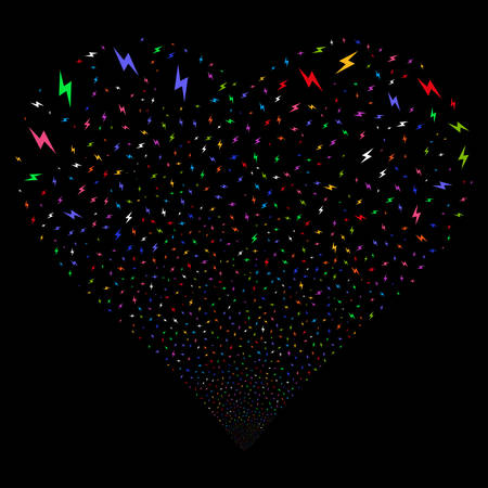 Electric Bolt fireworks with heart shape. Vector illustration style is flat bright multicolored iconic symbols on a black background. Object love heart made from confetti pictograms.