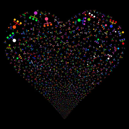 Hierarchy fireworks with heart shape. Vector illustration style is flat bright multicolored iconic symbols on a black background. Object love heart done from confetti design elements.