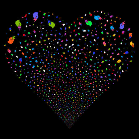 Person Stress Strike fireworks with heart shape. Vector illustration style is flat bright multicolored iconic symbols on a black background. Object valentine heart made from random design elements.