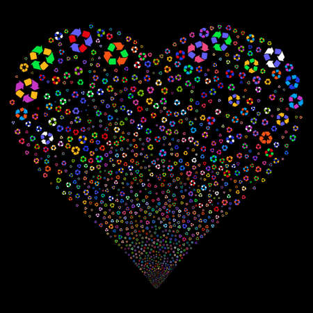 Recycle Arrows fireworks with heart shape. Vector illustration style is flat bright multicolored iconic symbols on a black background. Object heart made from random pictographs.