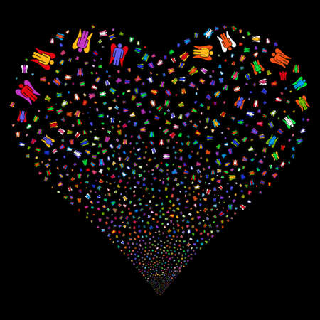 hallow: Angel fireworks with heart shape. Glyph illustration style is flat bright multicolored iconic symbols on a black background. Object heart done from scattered pictograms.