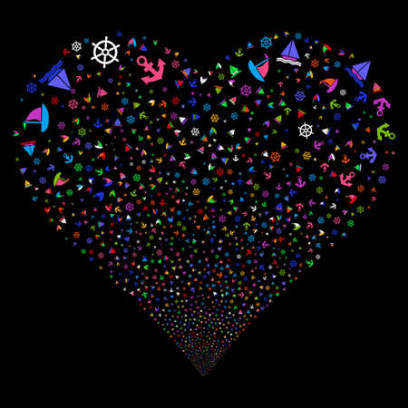 Boat Sailing fireworks with heart shape. Glyph illustration style is flat bright multicolored iconic symbols on a black background. Object stream combined from random pictographs.