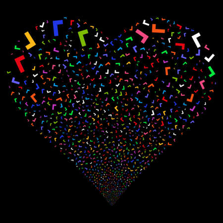 Yes fireworks with heart shape. Glyph illustration style is flat bright multicolored iconic symbols on a black background. Object love heart made from scattered icons.