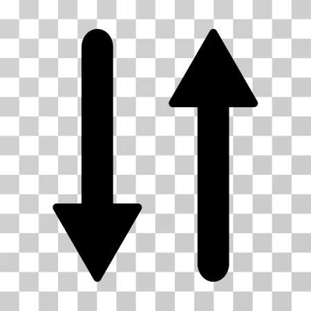 inverse: Arrows Exchange Vertical vector pictograph. Illustration style is flat iconic black symbol on a transparent background.