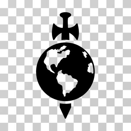 Earth Guard vector pictogram. Illustration style is flat iconic black symbol on a transparent background.