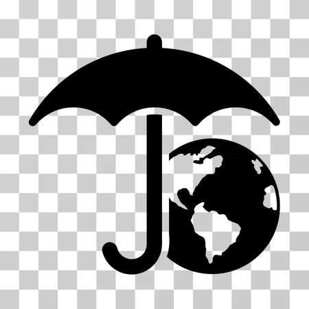 Earth Umbrella vector icon. Illustration style is flat iconic black symbol on a transparent background.