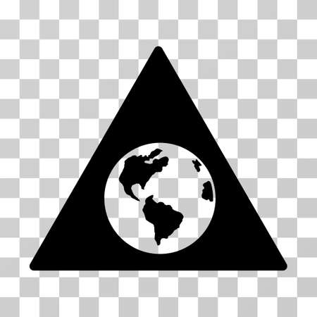 Earth Warning vector pictograph. Illustration style is flat iconic black symbol on a transparent background.