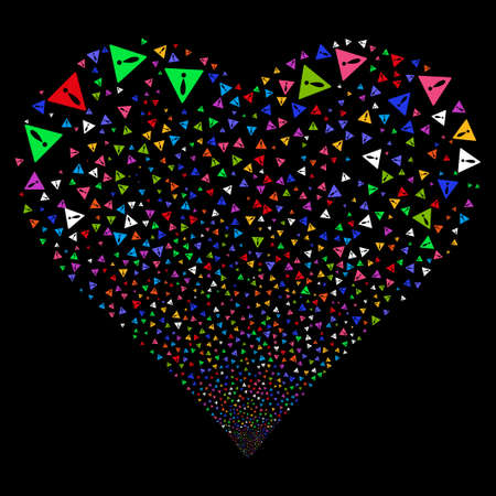 explosion hazard: Warning fireworks with heart shape. Vector illustration style is flat bright multicolored iconic symbols on a black background. Object valentine heart combined from confetti icons. Illustration