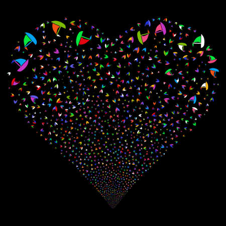 Yacht fireworks with heart shape. Vector illustration style is flat bright multicolored iconic symbols on a black background. Object valentine heart done from confetti pictographs. Illustration