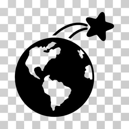 Rośnie Satelita na ziemi wektor piktogram. Styl ilustracja jest płaskim kultowym czarnym symbolem na przezroczystym tle.