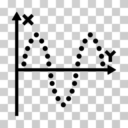 oscillations: Sinusoid Plot vector pictogram. Illustration style is flat iconic black symbol on a transparent background.