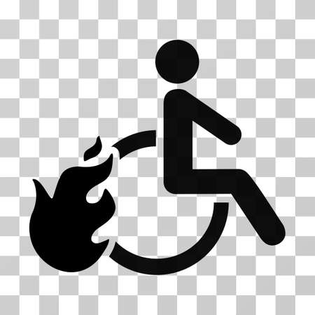 Fired Disabled Person vector icon. Illustration style is flat iconic black symbol on a transparent background.