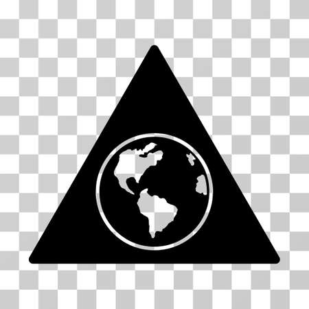 Terra Triangle vector icon. Illustration style is flat iconic black symbol on a transparent background.