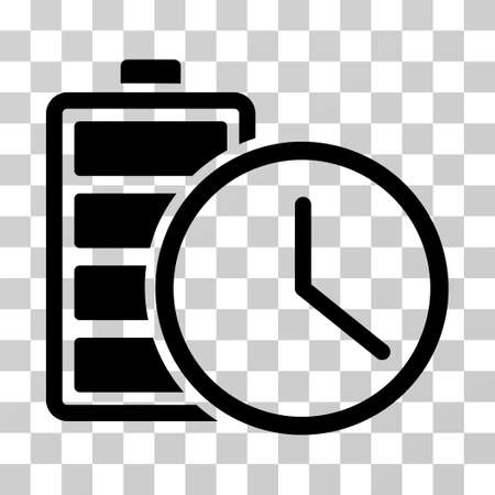 timed: Battery Time icon. Vector illustration style is flat iconic symbol, black color, transparent background. Designed for web and software interfaces.