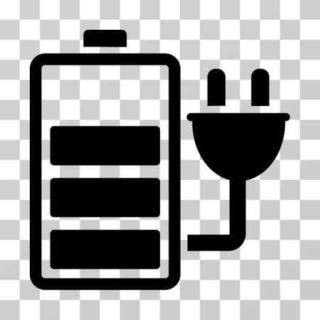 Ikona ładowania baterii. Styl ilustracji wektorowych to płasko charakterystyczny symbol, kolor czarny, przezroczyste tło. Zaprojektowany dla interfejsów internetowych i oprogramowania. Ilustracje wektorowe