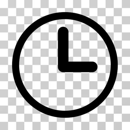 Clock icon. Vector illustration style is flat iconic symbol, black color, transparent background. Designed for web and software interfaces.