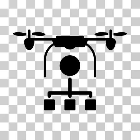 airflight: Drone Distribution icon. Vector illustration style is flat iconic symbol, black color, transparent background. Designed for web and software interfaces.