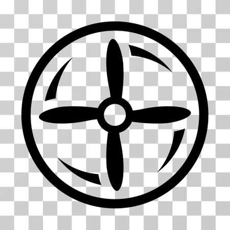 airscrew: Drone Screw Rotation icon. Vector illustration style is flat iconic symbol, black color, transparent background. Designed for web and software interfaces.