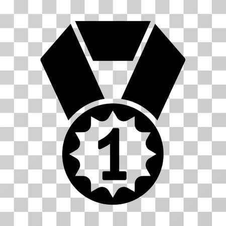 First Place Medal icon. Vector illustration style is flat iconic symbol, black color, transparent background. Designed for web and software interfaces.