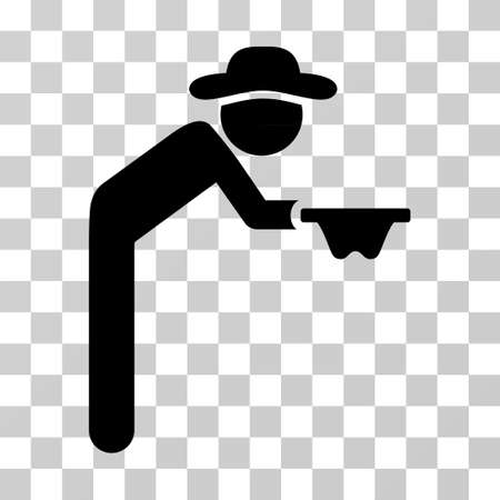 pauper: Gentleman Beggar icon. Vector illustration style is flat iconic symbol, black color, transparent background. Designed for web and software interfaces.