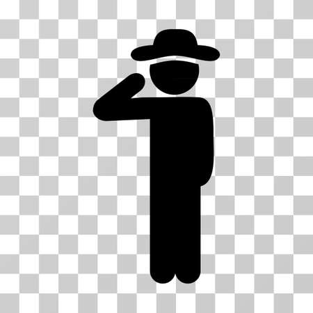 Gentleman Salute icon. Vector illustration style is flat iconic symbol, black color, transparent background. Designed for web and software interfaces.